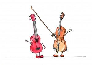 Ukulele och fiol f+ñrg